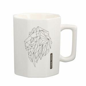 Altom Porcelánový hrnček Modern Lion 320 ml, biela