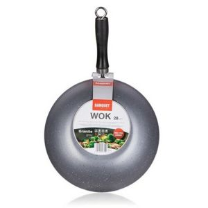 Banquet Panvica WOK GRANITE Brown,  28 cm