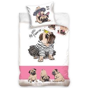 BedTex Bavlnené obliečky Mops Princezná, 140 x 200 cm, 70 x 90 cm