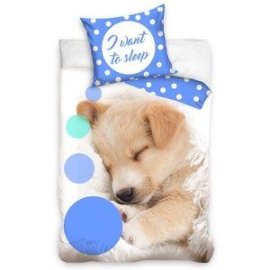 BedTex Bavlnené obliečky Sleeping Little Dog, 140 x 200 cm, 70 x 90 cm
