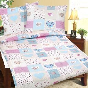 Bellatex Krepové obliečky Srdce modroružová, 140 x 200 cm, 70 x 80 cm