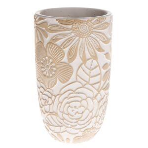 Betónová váza Flower, béžová, 12,5 x 21 x 12,5 cm