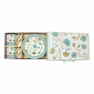 Darčeková sada porcelánovej šálky s podšálkou Modré kvetiny 100 ml, 2 ks
