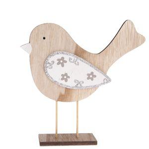 Drevená dekorácia Vtáčik Pinky, 19,5 x 20 cm