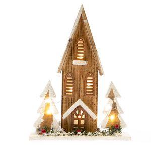 Drevený domček s osvetlením, 27 x 36 x 7 cm