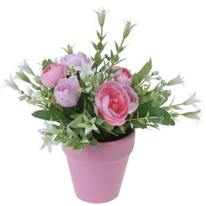Umelá ruža v kvetináči ružová, 21 cm