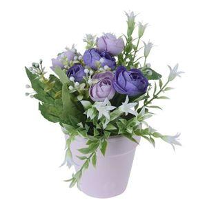 Koopman Umelé ruže v kvetináči fialová, 21 cm