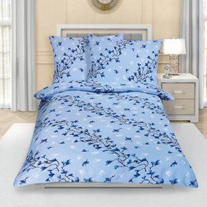 Bellatex Krepové obliečky Krík modrá, 140 x 200 cm, 70 x 90 cm
