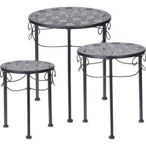 Sada okrúhlych kovových stolíkov Loreta