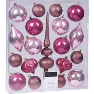 Sada vianočných ozdôb Clot ružová, 19 ks
