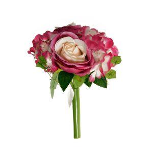 Umelá kytice Ruže s hortenziou ružová, 26 cm