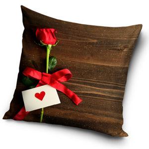 Vankúšik Valentín - Ruže pre Teba hnedá, 40 x 40 cm