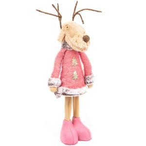Vianočná textilná dekorác Pink Reindeer Boy, 60 cm