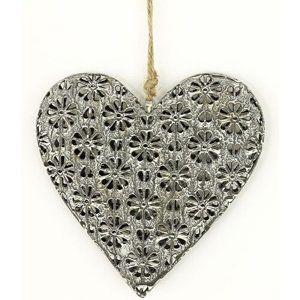 Závesná kovová dekorácia Floral heart, 14 cm