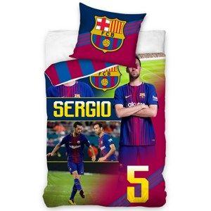 CarboTex Bavlnené obliečky FC Barcelona Sergio, 140 x 200 cm, 70 x 80 cm
