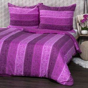 Jahu Bavlnené obliečky Flowers fialová, 140 x 200 cm, 70 x 90 cm