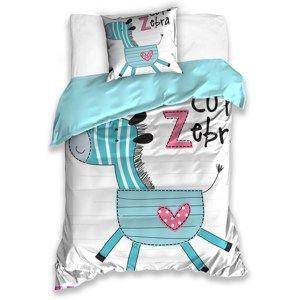 CarboTex Detské bavlnené obliečky Zebra, 140 x 200 cm, 70 x 80 cm