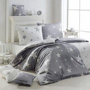 Matějovský Flanelové obliečky New Star Grey, 140 x 220 cm, 70 x 90 cm