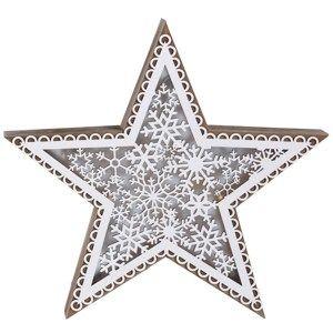 Vianočná drevená hviezda Marbella, 5 LED