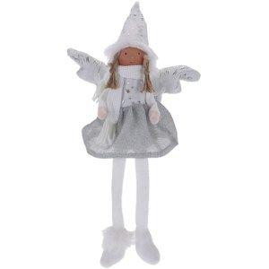 Vianočný anjel Bertina strieborná, 46 cm